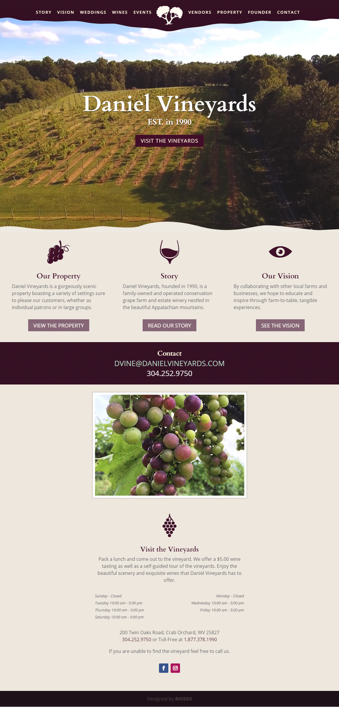 Daniel Vineyards Website
